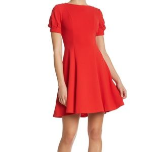 Eliza J. Red Side Seamed Fit & Flare Dress